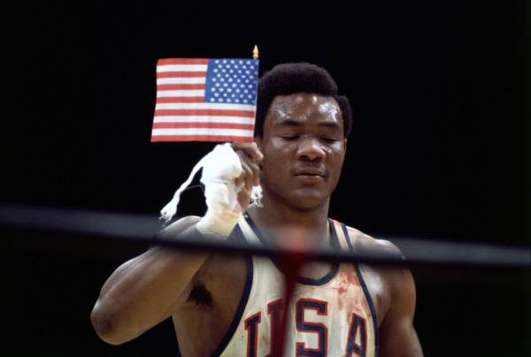 George Foreman with Flag