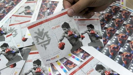Почтовая марка с Мэнни Пакьяо
