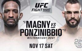 Результаты взвешивания к UFC Fight Night 140: Магни — Понзиниббио