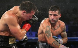 VERONA , NY - APRIL 18: Lucas Matthysse (R) lands a right cross against Ruslan Provodnikov at the Turning Stone Resort Casino on April 18, 2015 in Verona, New York.  Matthysee won the 12 round bout by scores of 114-114, 115-113 and 115-113. (Photo by Alex Menendez/Getty Images)