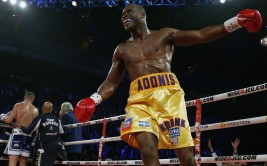 Adonis Stevenson of Canada celebrates after knocking out Tony Bellew of England during their World Boxing Council light heavyweight title boxing match at the Colisee in Quebec City