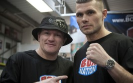 English former professional boxer Ricky Hatton (left), pictured at a gym in Salford, Greater Manchester with fellow boxer Martin Murray, ahead of the latter's middleweight title fight against  Sergio Gabriel Martinez in Argentina later this month. Hatton is a former WBA, IBF, IBO and The Ring Light Welterweight Champion and WBA Welterweight Champion. He was also a boxing promoter with Murray being one of the fighters he represented.