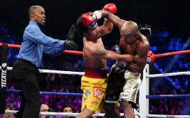 May 2, 2015, Las Vegas,Nevada  ---   Floyd Mayweather wins a 12-round unanimous decieion over Manny Pacquiao Saturday from the MGM Grand Garden Arena in Las Vegas.     ---   Photo Credit : Chris Farina - Top Rank (no other credit allowed)  copyright 2015