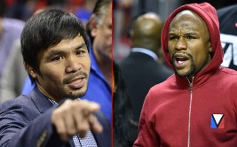 FAMEFLYNET - Boxers Manny Pacquiao And Floyd Mayweather Jr Attend The Same Basketball Game In Miami...Picture Shows: Manny Pacquiao, Floyd Mayweather Jr.  January 28, 2015    Boxers Manny Pacquiao and Floyd Mayweather Jr. both sit courtside (across from one another) at the Miami Heat basketball game in Miami, Florida.     The two men met briefly for the first time during halftime; perhaps to discuss the possibility of finally meeting in the boxing ring.    Non Exclusive  UK RIGHTS ONLY    Pictures by : FameFlynet UK  2015  Tel : +44 (0)20 3551 5049  Email : info@fameflynet.uk.com