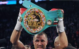 MONTREAL, QC - MARCH 14:  Sergey Kovalev stands with the WBC Light Heavyweight belt after defeating Jean Pascal (not pictured) during their Unified light heavyweight championship bout at the Bell Centre on March 14, 2015 in Montreal, Quebec, Canada.  (Photo by Richard Wolowicz/Getty Images)