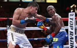 LOS ANGELES, CA - JUNE 27: Jessie Vargas throws a punch at Timothy Bradley Jr. in their Interim WBO World Title welterweight fight at StubHub Center on June 27, 2015 in Los Angeles, California.  Bradley won in a unanimous  decision.  (Photo by Stephen Dunn/Getty Images)