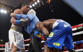Referee Patrick Russell, center, stops the fight with seven seconds left in the 12th and final round between Jessie Vargas, left, and Timothy Bradley in a welterweight boxing match for the interim WBO title, Saturday, June 27, 2015, in Carson, Calif. Russell thought that he had heard the bell, which caused the stoppage. (AP Photo/Mark J. Terrill)