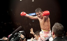 Mexican ring legend Erik Morales (52-7, 36 KOs) made history by becoming the first Mexican fighter to claim world titles in four weight divisions. Morales scored a tenth round TKO over previously unbeaten late sub Pablo Cesar Cano (23-1-1, 18 KOs) to claim the vacant WBC super lightweight championship on Saturday night at the MGM Grand Garden Arena in Las Vegas. Morales broke open a see-saw battle and badly busted up Cano's face late in the fight. Cano's corner stopped the fight after the tenth.