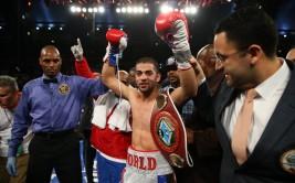 Nov 8, 2014; Atlantic City, NJ, USA; Sadam Ali celebrates his 9th round knockout win over Luis Carlos Abregu (not shown) at Boardwalk Hall. Mandatory Credit: Ed Mulholland-USA TODAY Sports