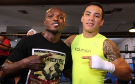 """June 18 , 2015, Hollywood ,Ca    --  Former two-division world champion and highly-rated pound for pound fighter TIMOTHY """"Desert Storm"""" BRADLEY JR. and two-time Mexican Olympian and undefeated featherweight knockout artist Oscar Valdez  (15-0, 14 KOs), of Nogales, Mexico pose together during media day on Thursday.  Bradley takes on  undefeated WBA super lightweight world champion JESSIE VARGAS in the main event on Saturday, June 27, at StubHub Center in Carson, Ca. while Vargas battles  former world title challenger RUBEN """"Canelito"""" TAMAYO in a 10-round feature fight.      Promoted by Top Rank®, in association with Tecate, this exciting event will be televised live on HBO World Championship Boxing, beginning at 9:45 p.m. ET/PT.       ---   Photo Credit : Chris Farina - Top Rank (no other credit allowed)  copyright 2015"""