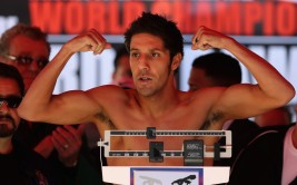 OAKLAND, CA - SEPTEMBER 07:  John Molina Jr. weighs in for his fight against Antonio DeMarco at the City Hall Plaza on September 7, 2012 in Oakland, California.   Molina Jr. and DeMarco will face off tomorrow night at the Oracle Arena in Oakland, California.  (Photo by Ezra Shaw/Getty Images)