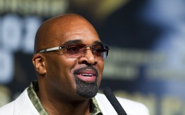 Leonard Ellerbe, CEO of Mayweather Promotions,speaks during a news conference at the MGM Grand Wednesday, May 1, 2013.