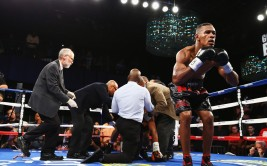 NEW YORK, NY - AUGUST 19:  Danny Jacobs celebrates his knock out of Giovanni Lorenzo in the third round of their Junior Middleweight fight at Best Buy Theater on August 19, 2013 in New York City.  (Photo by Al Bello/Getty Images)