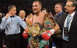 MONTREAL, QC - MARCH 14:  Sergey Kovalev stands with all the belts after defeating Jean Pascal (not pictured) during their Unified light heavyweight championship bout at the Bell Centre on March 14, 2015 in Montreal, Quebec, Canada.  (Photo by Richard Wolowicz/Getty Images)