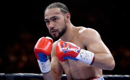 LAS VEGAS, NV - MARCH 07:  Keith Thurman is seen with a welt after a punch by Robert Guerrero during a Premier Boxing Champions bout in the MGM Grand Garden Arena on March 7, 2015 in Las Vegas, Nevada.  (Photo by Harry How/Getty Images)