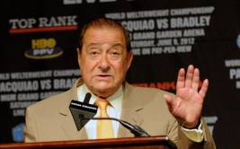 LAS VEGAS, NV - JUNE 06:  Top Rank Founder and CEO Bob Arum speaks during the final news conference for the bout between boxers Manny Pacquiao and Timothy Bradley at the MGM Grand Hotel/Casino June 6, 2012 in Las Vegas, Nevada. Pacquiao will defend his WBO welterweight title against Bradley when the two meet in the ring on June 9 in Las Vegas.  (Photo by David Becker/Getty Images)