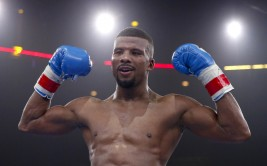 Apr 24, 2015; Chicago, IL, USA; Badou Jack celebrates a win against Anthony Dirrell fight during the Premier Boxing Championships at UIC Pavilion. Mandatory Credit: Kamil Krzaczynski-USA TODAY Sports