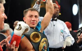 Jun 29, 2013; Mashantucket, CT, USA; Junior middleweight Gennady Golovkin (blue trunks) celebrates after knocking out Matthew Macklin (not pictured) during their WBA/IBO bout at Foxwoods Resort and Casino-MGM Grand Theatre. Golovkin won via third round knockout. Mandatory Credit: Joe Camporeale-USA TODAY Sports ORG XMIT: USATSI-133498 ORIG FILE ID:  20130629_lbm_ac9_472.JPG