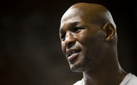 In this Tuesday, Aug. 12, 2014 photo, boxer Bernard Hopkins speaks during an interview with The Associated Press in Philadelphia. (AP Photo/Matt Rourke)