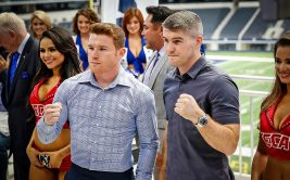 18 July 2016:    Ending faceoff between boxers Canelo Alvarez and Liam Smith at the press conference announcing the Canelo Alvarez-Liam Smith WBO Junior Middleweight World Championship fight to be held September 17, 2016 at AT&T Stadium in Arlington, Texas.   Photo by James D. Smith/CBAA