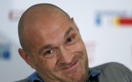 British boxer Tyson Fury reacts during a news conference in Duesseldorf, Germany, July 21, 2015. Unbeaten British boxer Tyson Fury will get a shot at the world heavyweight title in October after agreeing terms for a meeting with champion Vladimir Klitschko. The 39-year-old Ukrainian's WBA, WBO, IBF and IBO crowns will be on the line when the pair meet in the German city of Duesseldorf October 24, 2015 in Duesseldorf. (Photo by Ina Fassbender/Reuters)