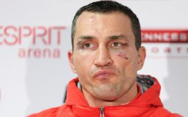 Ukrainian World heavyweight boxing champion Wladimir Klitschko attends a press conference after being defeated by British Tyson Fury after the WBA, IBF, WBO and IBO title bout in Duesseldorf, western Germany, on November 28, 2015. Fury won after 12 Rounds of Boxing.  AFP PHOTO / DPA / FRISO GENTSCH   GERMANY OUT