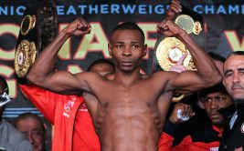 "April 12, 2013, New York,NY  ---  2012 Fighter of the Year/WBO World Jr. Featherweight champion Nonito ""Filipino Flash"" Donaire and undefeated WBA World Super Bantamweight champion Guillermo Rigondeaux(pictured) weigh in (Donaire 121.6 lbs, Rigondeaux 121.6 lbs ) for their upcoming world championship battle,  Saturday, April 13 at the historic Radio City Music Hall in New York City and televised live on HBO World Championship Boxing®.  Promoted by Top Rank, in association with Caribe Promotions, Tecate and Madison Square Garden, tickets priced at $300, $150, $75 and $35, are available for purchase at the Radio City Music Hall Box Office, Madison Square Garden Box Office, Ticketmaster charge by phone (866-858-0008) and online at www.ticketmaster.com,  www.radiocity.com and www.thegarden.com.     --- Photo Credit : Chris Farina - Top Rank (no other credit allowed) copyright 2013"